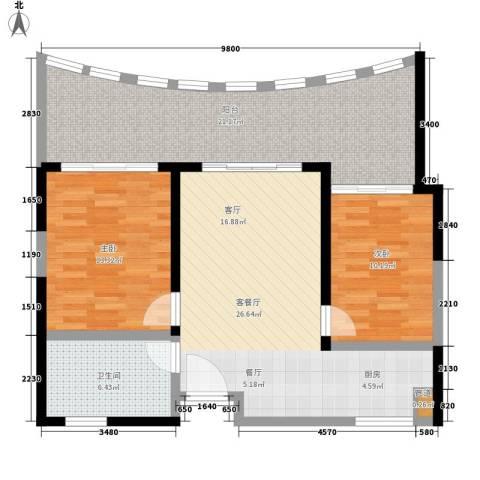 保利・半岛1号2室1厅1卫0厨85.00㎡户型图