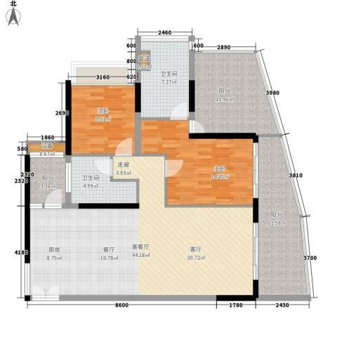 保利・半岛1号2室1厅2卫0厨117.00㎡户型图