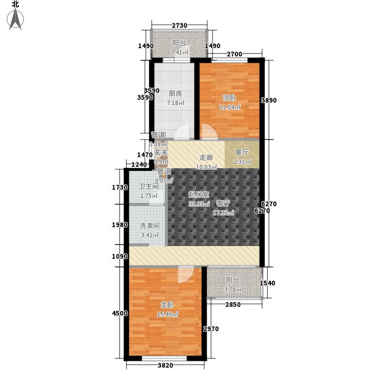 怡清园86.81㎡三号楼D户型2室1厅1卫1厨