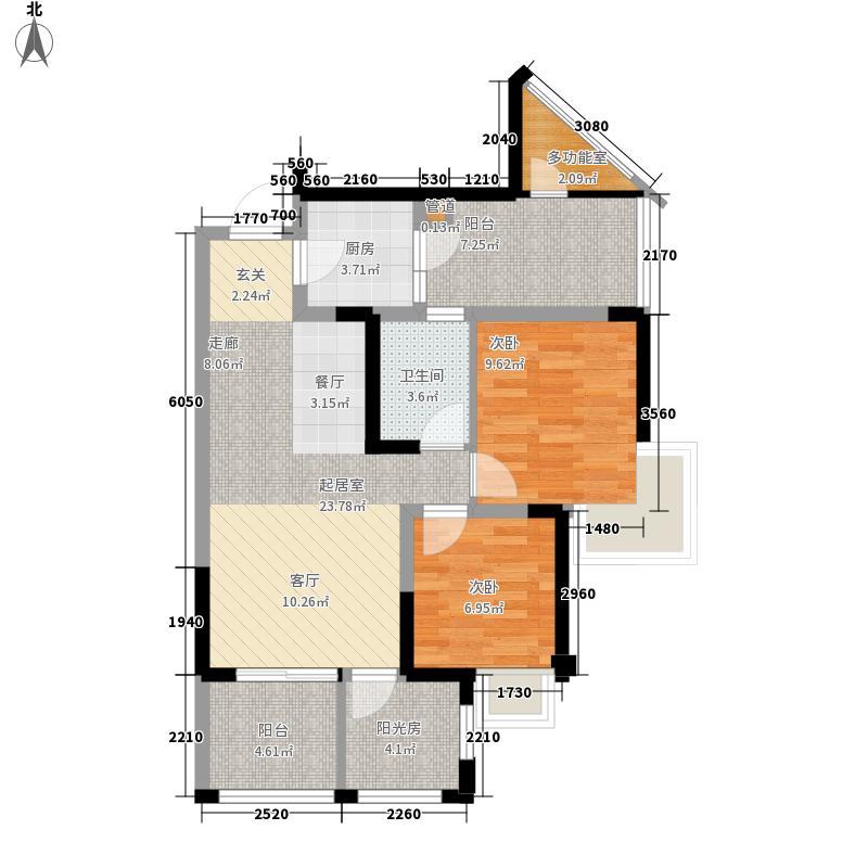 成都新天地2期春天里78.00㎡二期1号楼标准层A2户型1室2厅1卫1厨