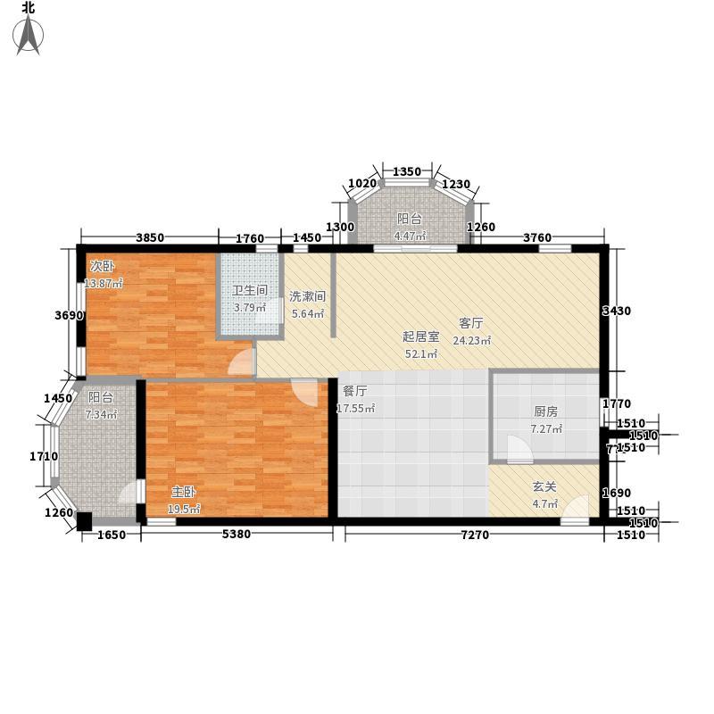 惠新苑二期127.59㎡户型2室1厅1卫1厨