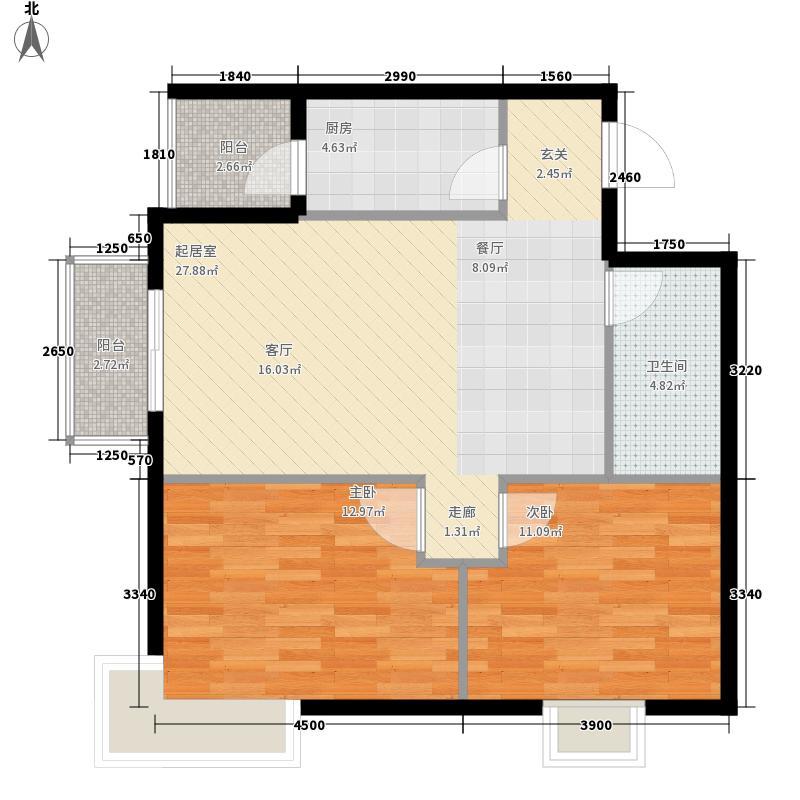 鸥洲88.20㎡小高层N户型2室2厅