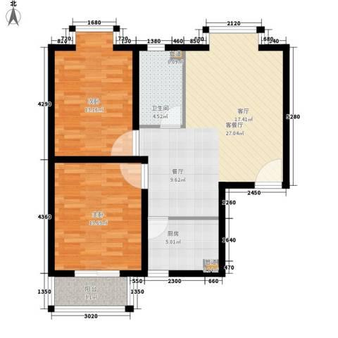 嘉兴青年新城2室1厅1卫1厨74.00㎡户型图