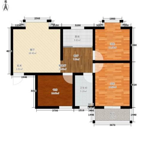 嘉兴青年新城3室1厅1卫1厨89.00㎡户型图