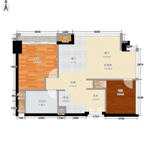 越秀・财富世纪广场2室0厅1卫0厨99.00㎡户型图