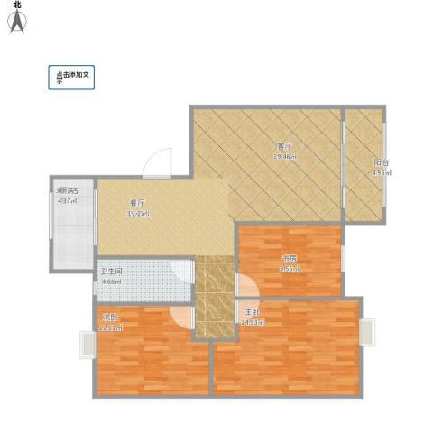 海韵嘉园3室1厅1卫1厨110.00㎡户型图