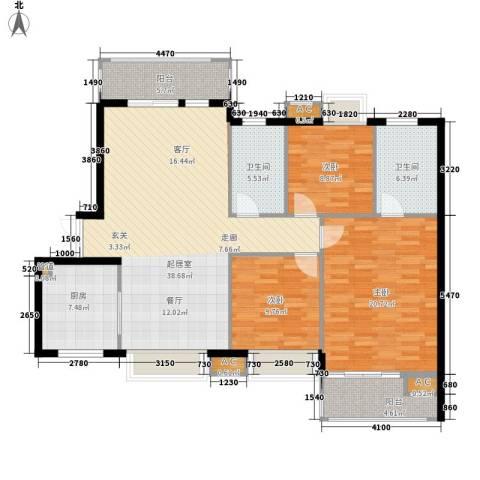 国瀚城3室0厅2卫1厨122.00㎡户型图
