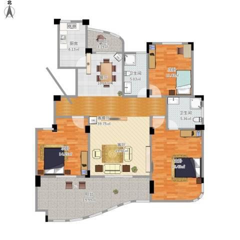 丁香花园3室1厅2卫1厨171.00㎡户型图