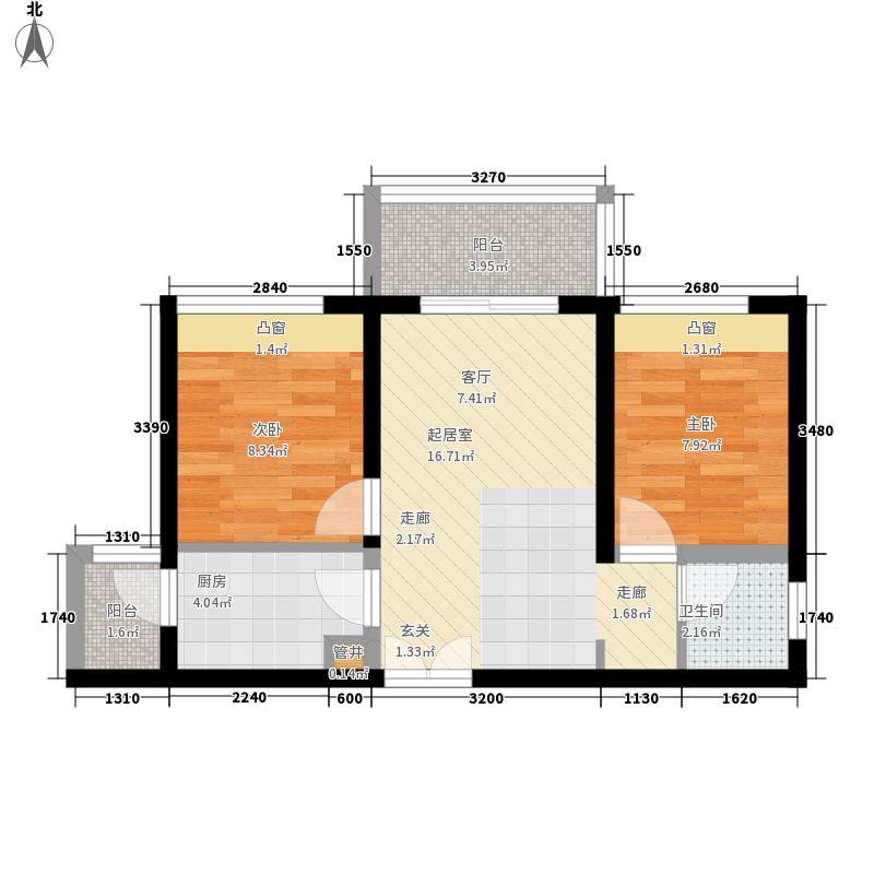 一品CG5.66㎡一期3号楼标准层A5户型2室2厅1卫1厨