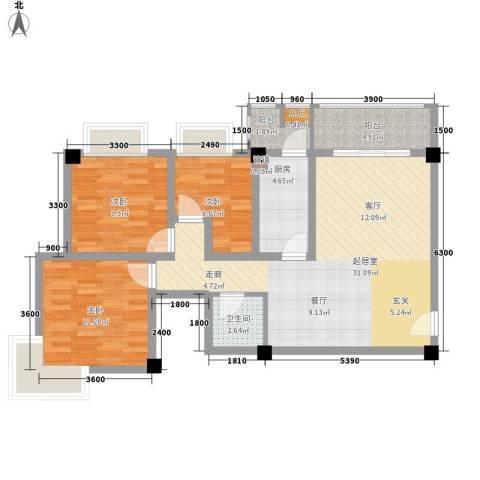 长安未来国际3室0厅1卫1厨103.00㎡户型图