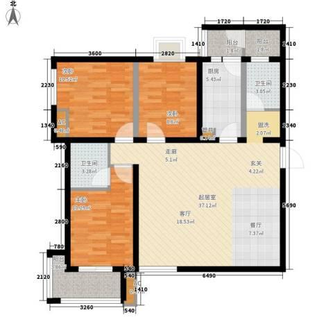 卡布奇诺国际社区3室0厅2卫1厨119.00㎡户型图