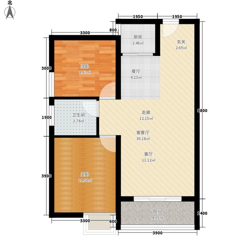永安双厦6.70㎡C2户型2室2厅1卫1厨