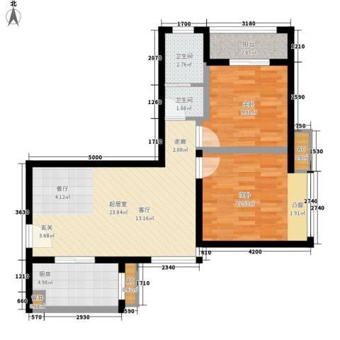卡布奇诺国际社区2室0厅2卫1厨81.00㎡户型图