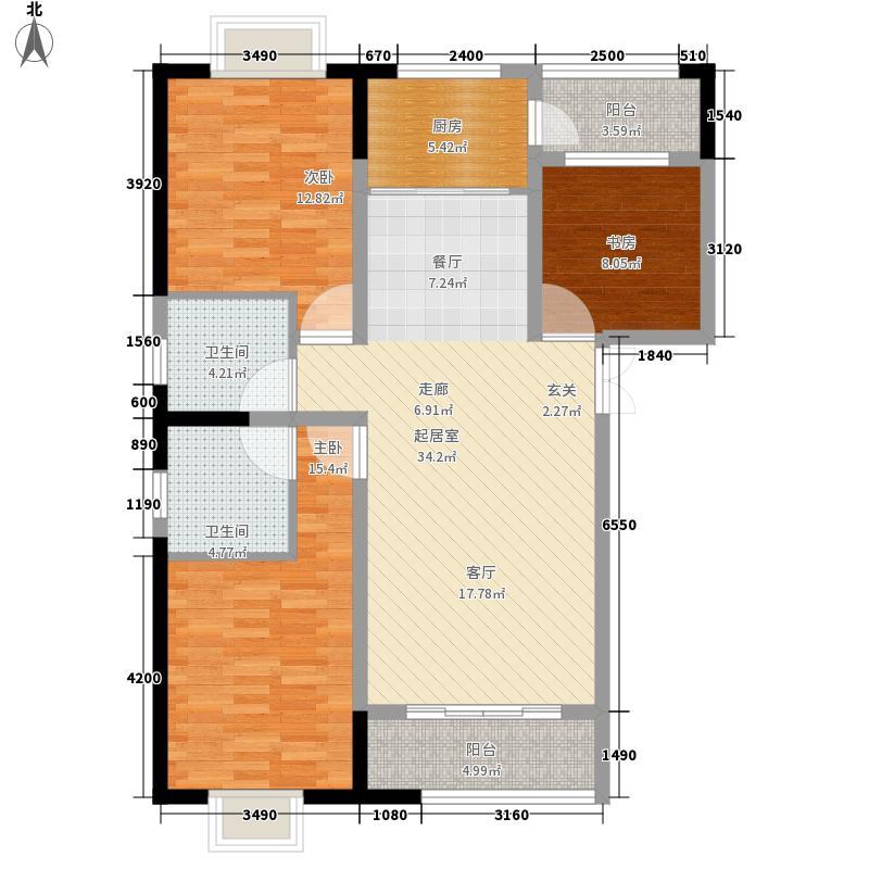 万年花城117.49㎡M1-1户型3室2厅2卫1厨