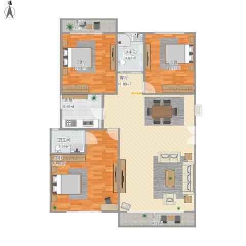 海韵园3室1厅2卫1厨161.00㎡户型图
