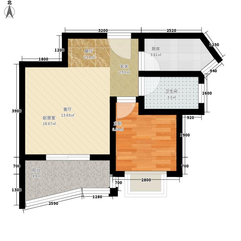 公园壹号51.00㎡D户型1室1厅1卫1厨