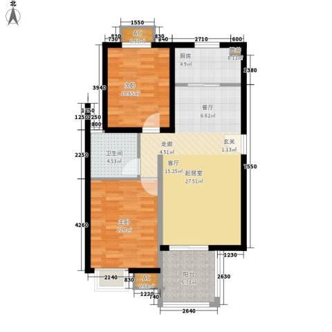 金龙花园二期2室0厅1卫1厨97.00㎡户型图