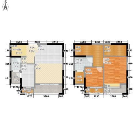 金科新大陆2室0厅2卫1厨113.00㎡户型图