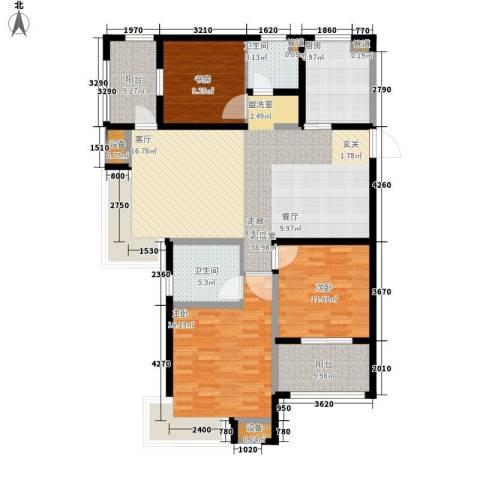 雨润新城3室0厅2卫1厨120.00㎡户型图