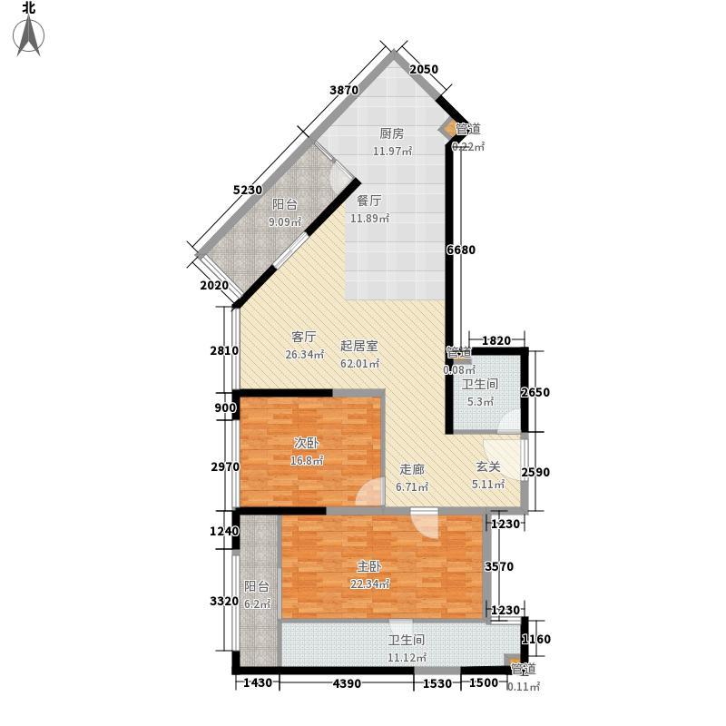 皇都花园2期147.85㎡2号楼pb户型2室2厅2卫