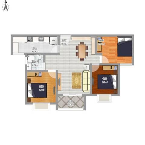 合景叠翠峰3室1厅1卫1厨94.00㎡户型图