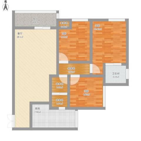 希尔安江上城3室1厅1卫1厨122.00㎡户型图