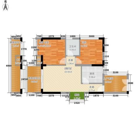 京海成・鹿港溪山2室0厅1卫1厨101.00㎡户型图
