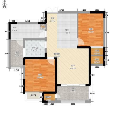 金科新大陆2室0厅1卫1厨97.00㎡户型图