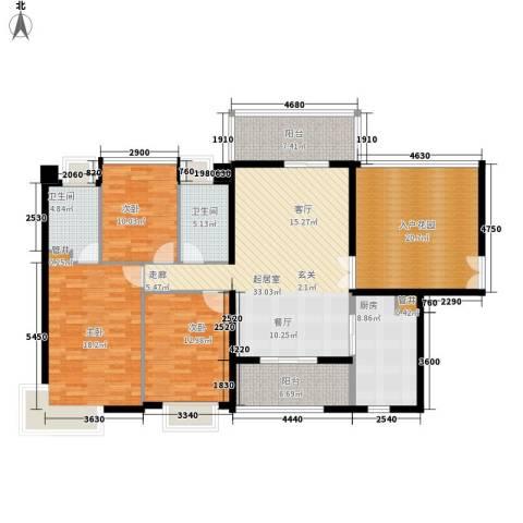 城建仁山智水花园3室0厅2卫1厨144.00㎡户型图
