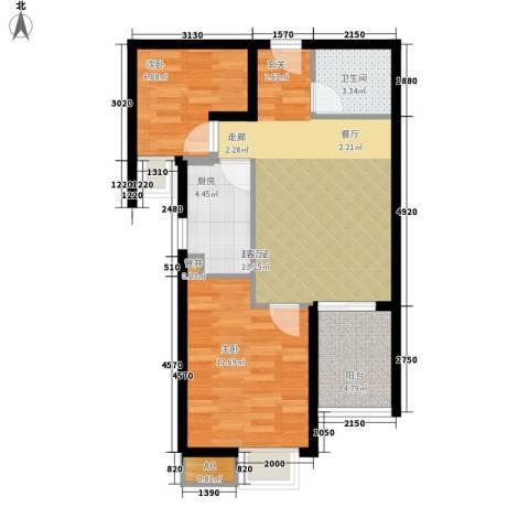 金龙花园二期2室0厅1卫1厨77.00㎡户型图