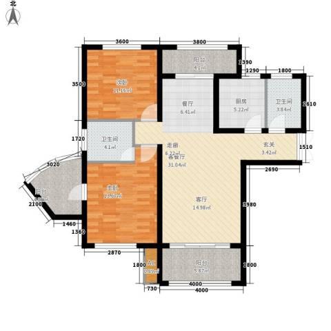 金和苑2室1厅2卫1厨146.00㎡户型图
