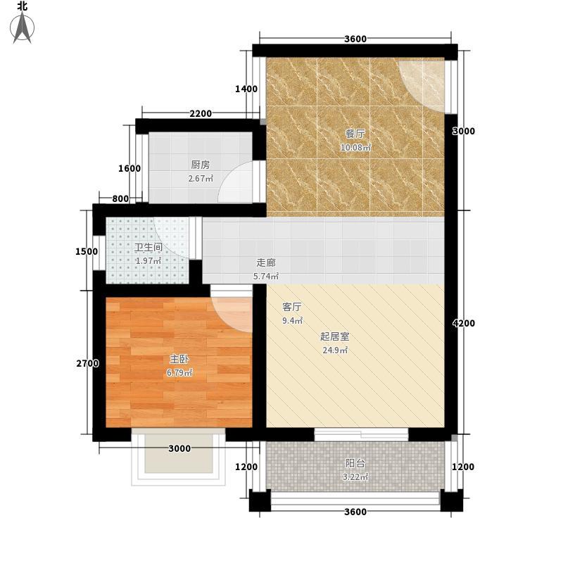 公园壹号55.50㎡A户型1室1厅1卫1厨