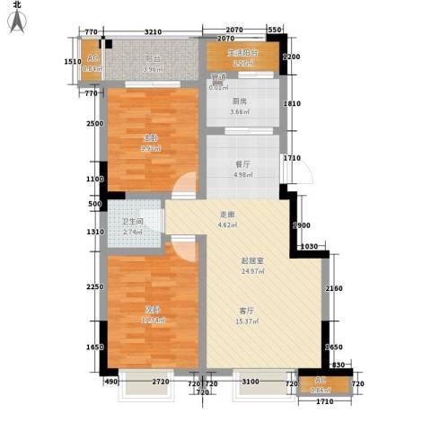 兴发金域丽江2室0厅1卫1厨75.00㎡户型图