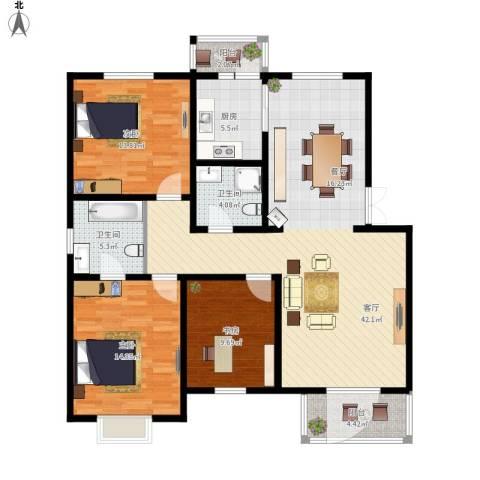天一海馨园3室1厅2卫1厨143.00㎡户型图