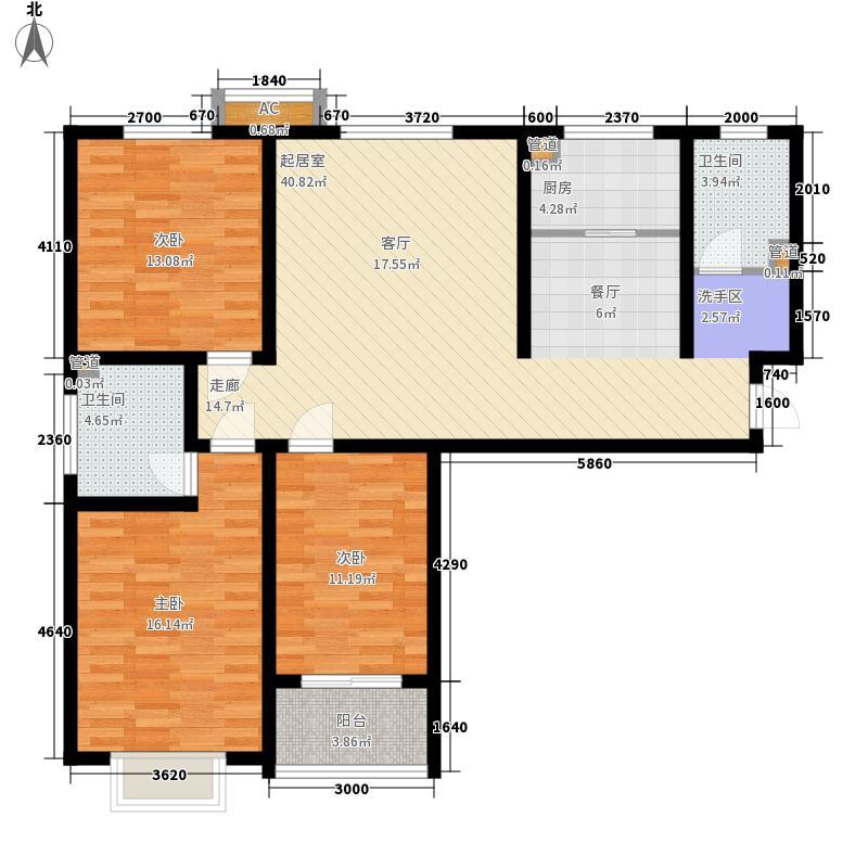 福鼎园113.60㎡1、2号楼标准层A户型3室2厅1卫1厨