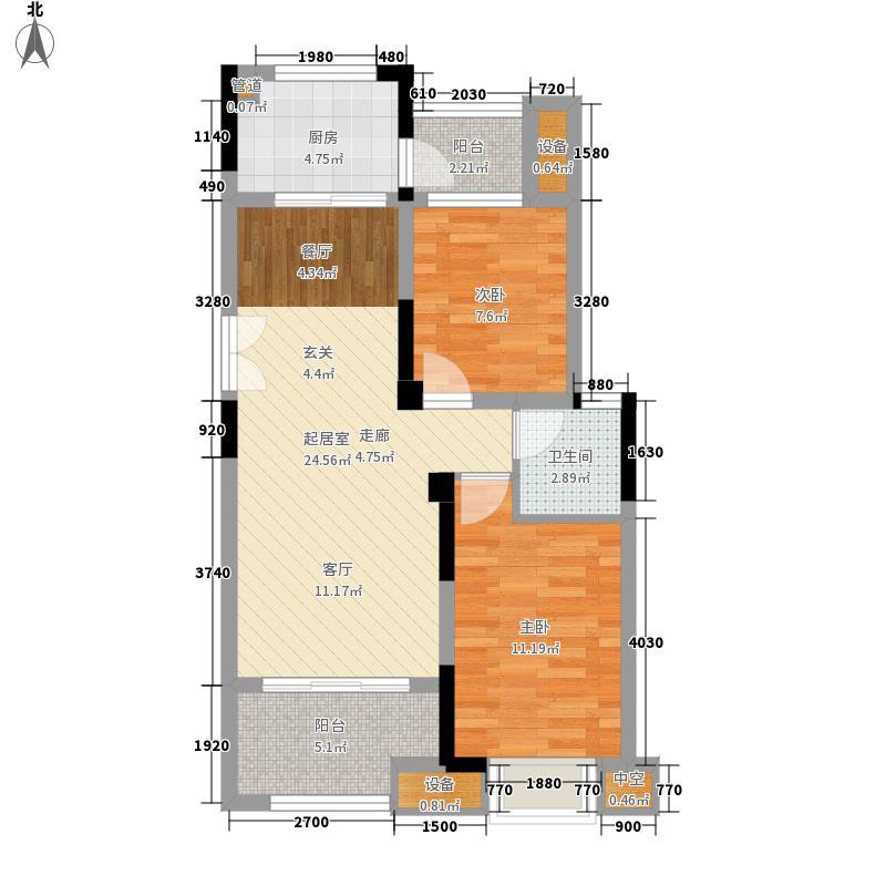 财信沙滨城市64.52㎡一期3号楼标准层C户型