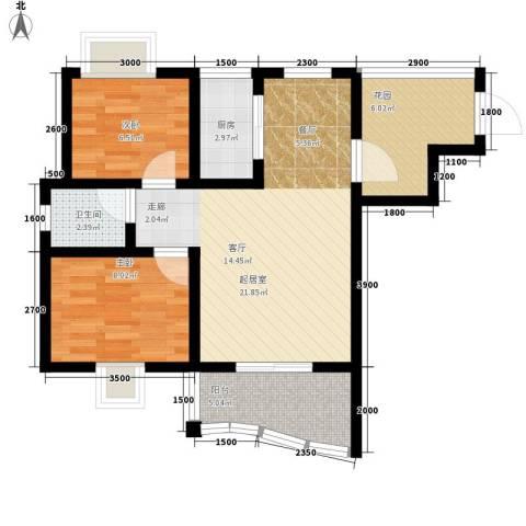 公园壹号2室0厅1卫1厨67.00㎡户型图