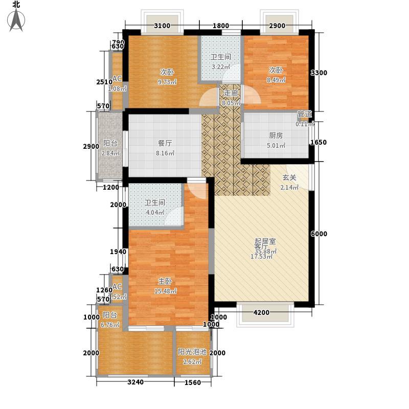 凤凰水城127.37㎡凤凰水城户型图户型图3室2厅2卫1厨户型3室2厅2卫1厨