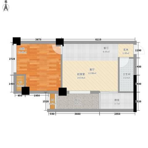 红区抽屉1室0厅1卫1厨52.00㎡户型图