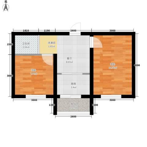 伟邦龙嘉小镇2室1厅1卫1厨51.00㎡户型图