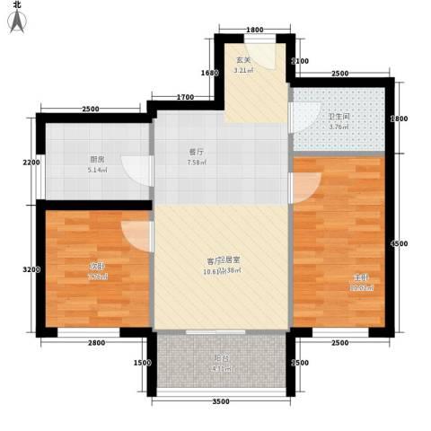 华龙苑南里2室0厅1卫1厨74.00㎡户型图