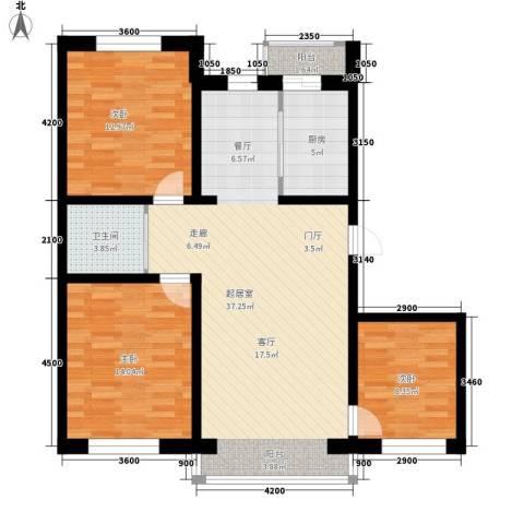 伟邦龙嘉小镇3室0厅1卫1厨118.00㎡户型图