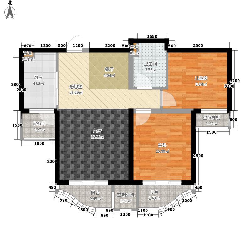 中冶玉带湾96.01㎡玉带湾7号楼B户型2室2厅