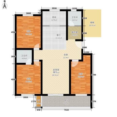 新港名都花园3室0厅2卫1厨131.00㎡户型图