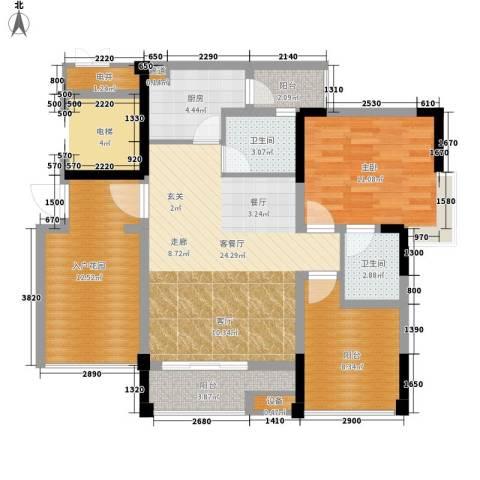 恺信时代天城1室1厅2卫1厨86.00㎡户型图