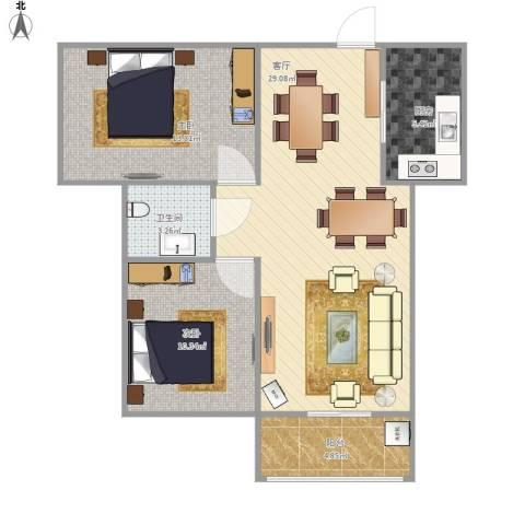 澜点家园2室1厅1卫1厨90.00㎡户型图