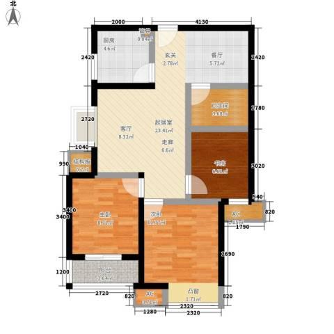卡布奇诺国际社区3室0厅1卫1厨83.00㎡户型图