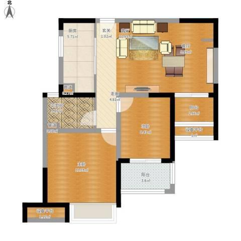 绿地新江桥城2室1厅1卫1厨95.00㎡户型图