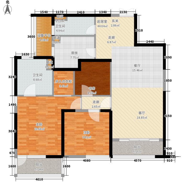 皇都花园2期146.75㎡CYB3(4、8、12层)户型3室2厅2卫