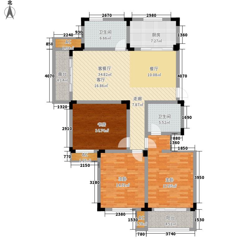 溪畔橡园130.00㎡13号楼I户型3室2厅2卫1厨